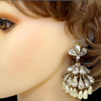VINTAGE HUGE Statement SCHREINER Clear Rhinestone Dangle Faux Pearl Chandelier Earrings