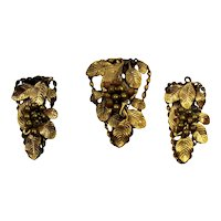 Vintage Brass TRIPLE Dress Clips Eucalyptus leaves and wired berries