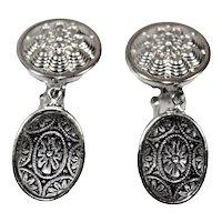 Vintage JULIANA Black Clear Painted Mosaic Cabochon Rhinestone Medalion Dangle Earrings