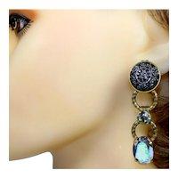 Vintage JULIANA Black Mosaic Cabochon Rhinestone Dangle Earrings