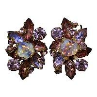 Vintage Purple Lavender Givre Rhinestone Opaline Glass Flower Clip Earrings