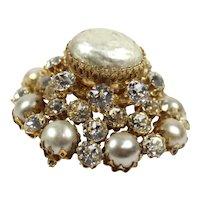 Vintage SCHREINER Baroque Glass Pearl Clear Rhinestone Domed Brooch