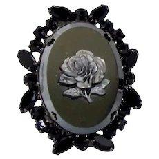 Vintage JULIANA Hematite Rose Black Rhinestone Cameo Pendant Brooch Book Piece