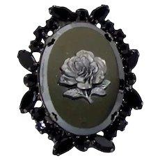 Vintage JULIANA Hematite Rose Black Rhinestone Cameo Pendant Brooch Book Piece