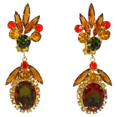 Vintage Juliana Fall Colored Topaz Olivine Orange Watermelon Rhinestone Dangle Earrings Book Piece