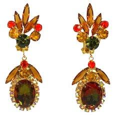 Vintage Juliana Fall Colored Topaz Olivine Orange Watermelon Rhinestone Dangle Earrings Book Piece