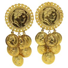 Vintage HUGE JULIANA  Dangling Empereur Napoleon Coin Earrings