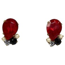 Vintage JULIANA Rubinite Red Black Rhinestone Faux Pearl Pierced Earrings Book Piece