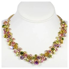 Vintage WEISS  Pastel Pink Lavender Yellow Green Rhinestone Necklace