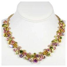Vintage WEISS  Pastel Pink Lavender Yellow Green Rhinestone Necklace