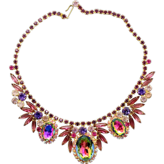 Vintage Juliana Purple Amethyst Fuchsia Pink Watermelon Rhinestone Necklace Book Piece