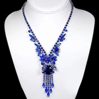 Vintage JULIANA Bermuda Blue Caged Dentelle Rhinestone Necklace Book Piece