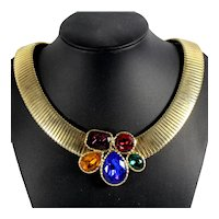Vintage Juliana Colorful Purple Red Green Amber Blue Rhinestone Cobra Collar Necklace