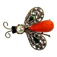 Vintage SCHREINER Orange Bead Clear Green Rhinestone Trembler Wing Bug Brooch