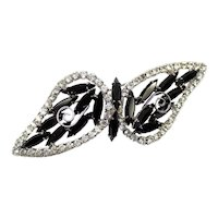 Vintage JULIANA Black Clear Rhinestone Scrollwork Bow or Abstract Butterfly Brooch