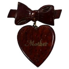 Vintage Wood HAND Carved Bow with Dangling Heart Mother Brooch