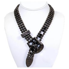 Vintage Juliana D&E Western Buckle Ball Chain Black Rhinestone Necklace