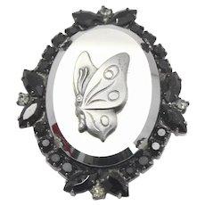 Vintage Juliana Black Rhinestone Hematite Butterfly Cameo Rhinestone Brooch Pendant Book Piece