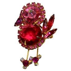 Vintage JULIANA Fuchsia Pink Margarita Rhinestone Chick Bird Brooch Book Piece