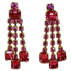 Vintage Fuchsia Pink Rhinestone Long Dangle Screw Earrings