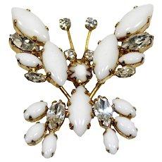 Vintage Schreiner White Milkglass Clear Rhinestone Trembler Butterfly Figural Brooch