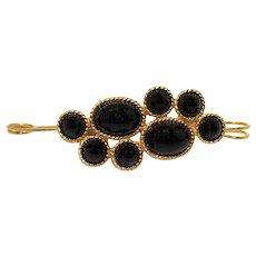 Vintage Juliana Black Cabochon Rhinestone Safety Pin Brooch
