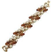 Vintage Juliana Topaz Clear Rhinestone Faux Pearl Bracelet