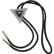 Vintage Juliana Book Piece Silver Toned Ball Chain Black Western Bolo Tie Necklace