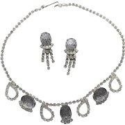 Vintage Juliana Black Painted Mosaic Rhinestone Necklace Dangle Earrings Demi Parure