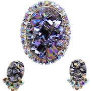 Vintage Juliana Book Piece Black Geode Rhinestone Brooch Earrings Demi Parure