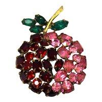 Vintage Schreiner Red Pink Green Rhinestone Apple Cherry Strawberry Fruit Brooch