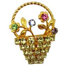 Vintage Pastel Rhinestone Flower Basket Brooch
