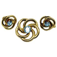 Vintage Baby Blue Rhinestone Swirling Brooch Earrings Demi Parure