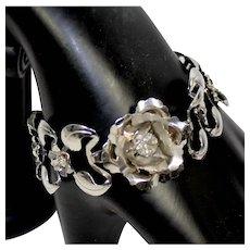 Vintage Stamped Silver Tone Rose Flower and Leaves Rhinestone Bracelet
