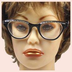 Vintage Winged Cat Eye Glasses 1950s Black Enameled Metal & Baguette Rhinestone Accent
