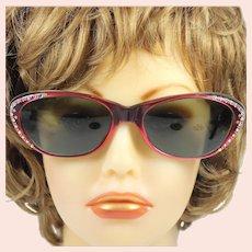 Vintage Cat Eye Sun Glasses Red Plastic Rhinestone Studded Made In France
