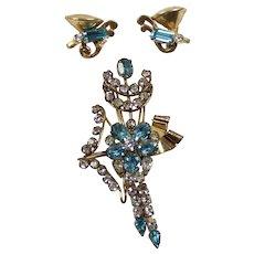 Vintage STAR ART Gold Filled Aqua Blue Rhinestone Dangle Flower Brooch Earrings Demi Parure
