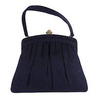 Vintage 1950's MORRIS MOSKOWITZ MM Gathered Blue Wool Felt Purse Hand Bag Clasp