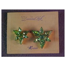 Kramer Peridot Color Rhinestone Scatter Pins Mint and Carded