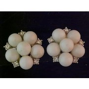 Kramer White bead and Rhinestone Clip Earrings-Mint and Carded