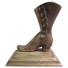 Cast Brass Ladies Boot Match Holder