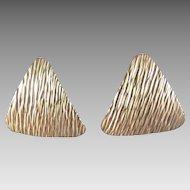 Krementz Gold Tone Triangular Earrings