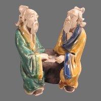 Mudman Chinese Sages Playing Game Figurine