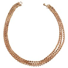 Triple Strand 14 Karat Gold Chain Choker with Gold Overlay Clasp