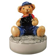 Bialosky Teddy  Bear Ceramic Music Box Mr. Williams with Railroad Train