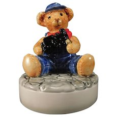 Bialosky Teddy  Bear Ceramic Music Box Mr. Williams with Railroad Train