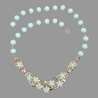 Baby Blue Floral Necklace by Kramer Mint Unused