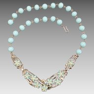 Baby Blue Floral Necklace by Kramer Mint Unused