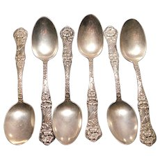 Sterling Silver Teaspoons Floral Art Nouveau Pattern Set of 6