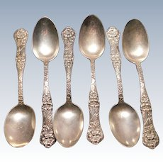 Sterling Silver Teaspoons Floral Art Nouveau Pattern Set of 6